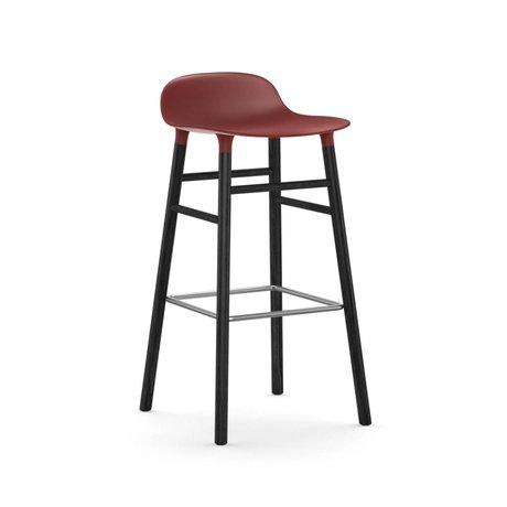 Normann Copenhagen Bar chair shape red black plastic wood 53x45x87cm