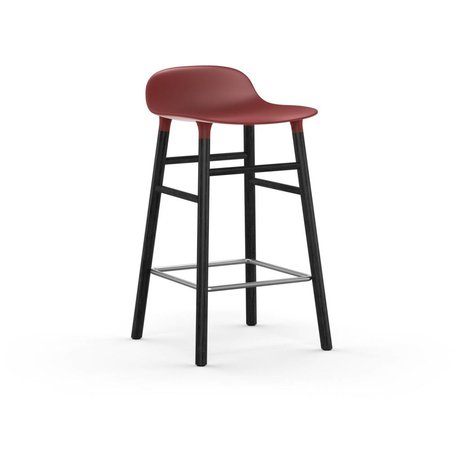 Normann Copenhagen Bar chair shape red black plastic wood 43x42,5x77cm