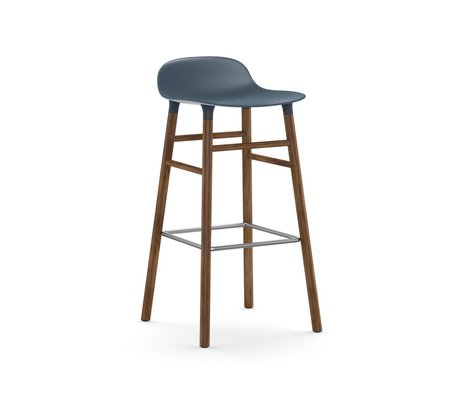 Normann Copenhagen Bar chair shape blue brown plastic wood 45x45x87cm