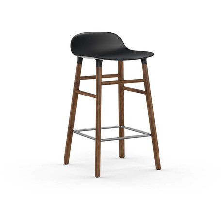 Normann Copenhagen Bar chair shape black brown plastic wood 43x42,5x77cm