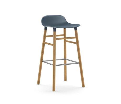 Normann Copenhagen Bar chair shape blue brown plastic oak 45x45x87cm