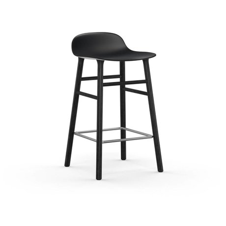 Normann Copenhagen Bar chair shape black plastic wood 43x42,5x77cm