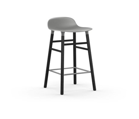 Normann Copenhagen Bar chair shape gray black plastic wood 43x42,5x77cm