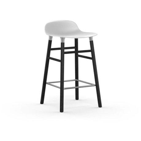 Normann Copenhagen Bar chair shape white black plastic wood 43x42,5x77cm