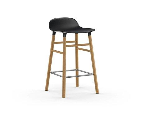 Normann Copenhagen Bar chair shape black brown plastic oak 43x42,5x77cm