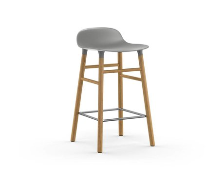 Normann Copenhagen forme Barstool plastique gris 77x40,8x42,2cm en bois de chêne