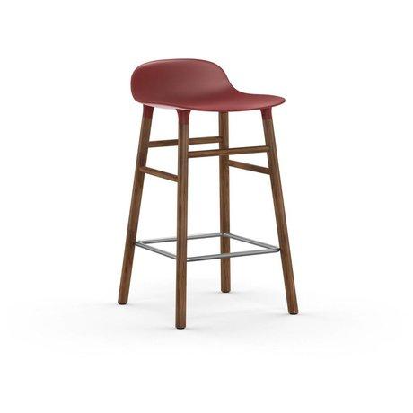 Normann Copenhagen Bar chair shape red brown plastic wood 43x42,5x77cm