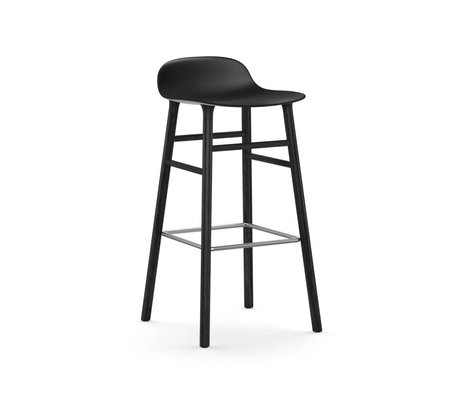 Normann Copenhagen Bar chair shape black plastic wood 53x45x87cm