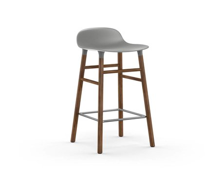 Normann Copenhagen Barhocker Form grau Kunststoff Walnuss Holz 77x40,8x42,2cm