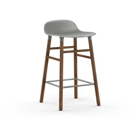 Normann Copenhagen forme Barstool gris 77x40,8x42,2cm noyer plastique