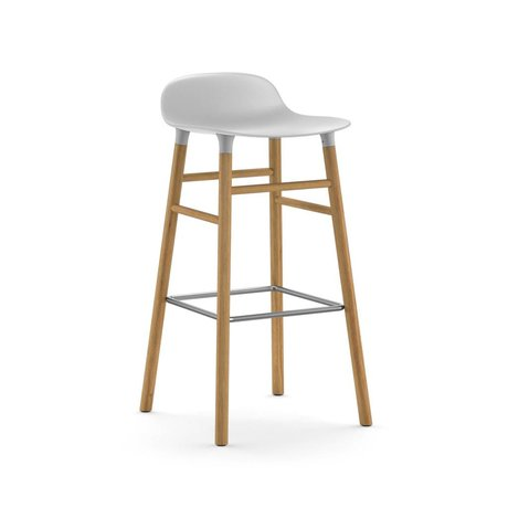 Normann Copenhagen Barstool Shape White Plastic Oakwood 87x40,8x42,2cm