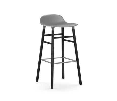 Normann Copenhagen Bar chair shape gray black plastic wood 53x45x87cm