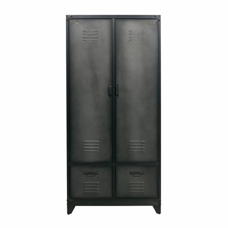 vtwonen Locker black metal 190x90x50cm