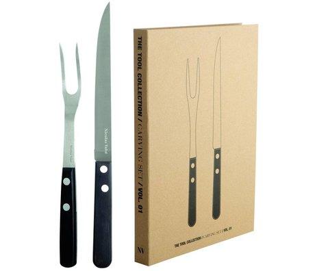 Nicolas Vahé Tenedor y cuchillo Steakset en madera de acero inoxidable / Pakka, negro