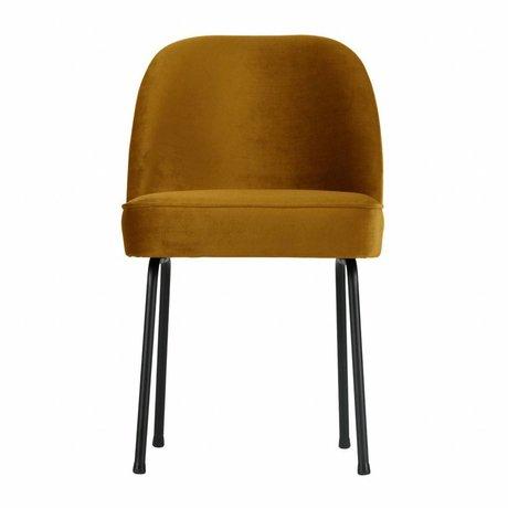 BePureHome Chaise de salle à manger vogue velours moutarde