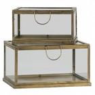 BePureHome Set di 2 porta fortuna in metallo / vetro ottone anticato