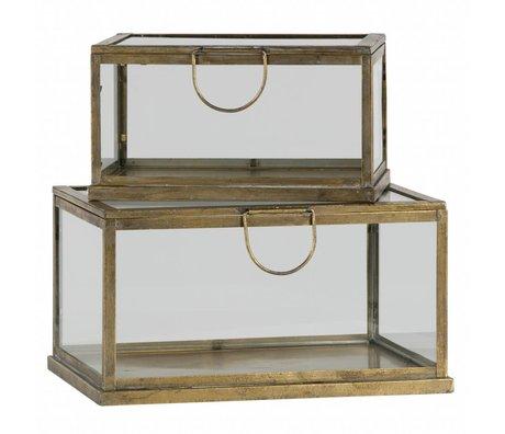 BePureHome Juego de 2 cajas de almacenamiento de fortuna metal / vidrio latón antiguo