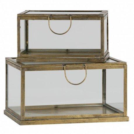 BePureHome Lot de 2 boîtes de rangement fortune en métal / verre, laiton antique