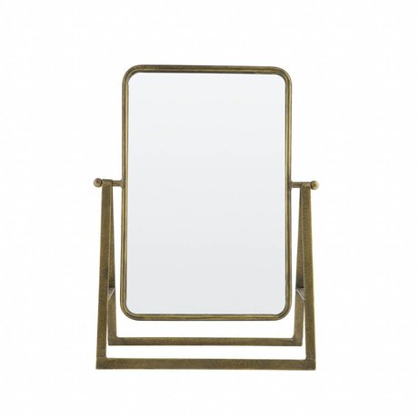 BePureHome Say cheese mirror metal antique brass