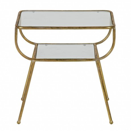 BePureHome Table d'appoint incroyable métal / verre laiton antique