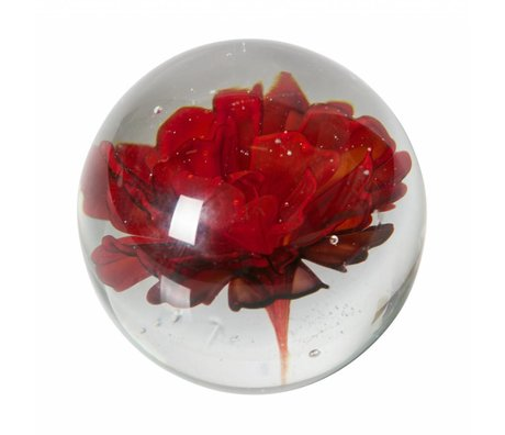 BePureHome Flor botánica en vidrio rojo ø8cm.