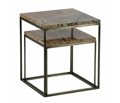 BePureHome 2er set metallic beistelltisch marble messing antik