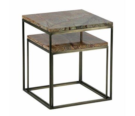 BePureHome Set di 2 tavolini metallici in ottone anticato in marmo