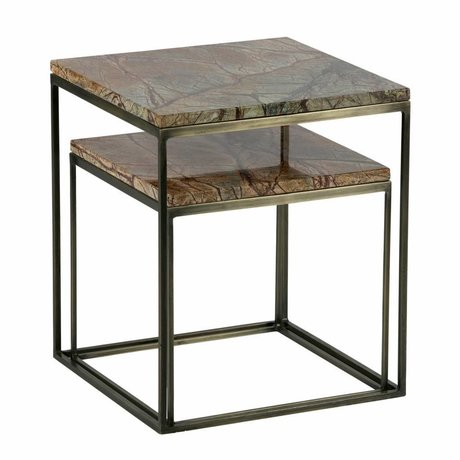 BePureHome Set of 2 metallic side table marble antique brass