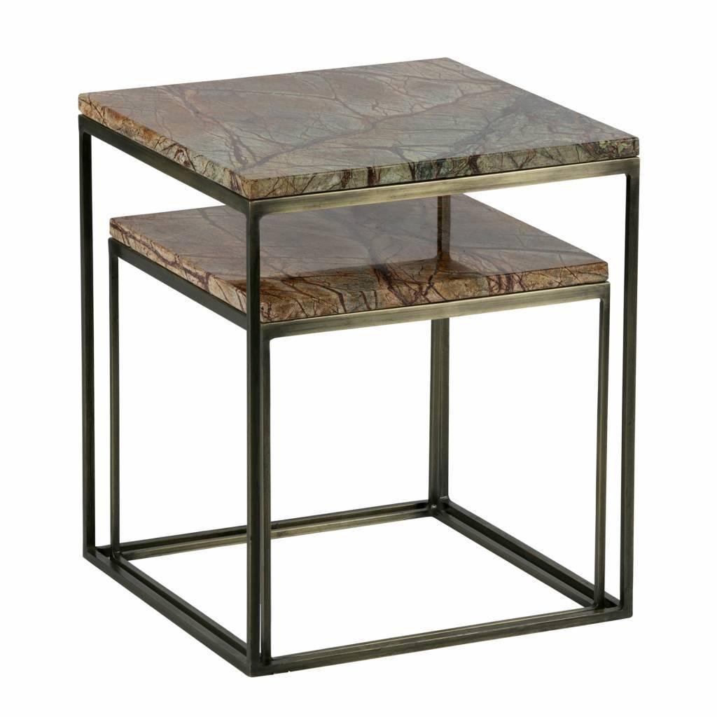 54d1d3fd0499 BePureHome Sæt med 2 metalliske sidebord marmor antik messing ...