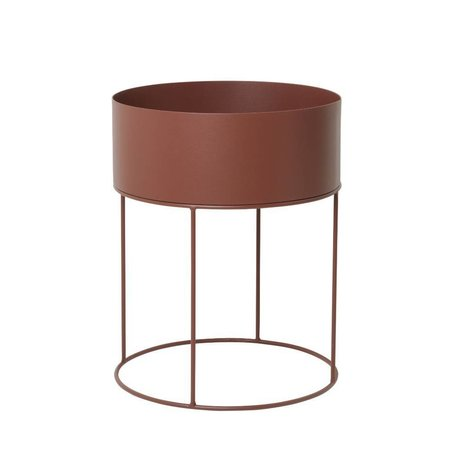 Ferm Living Box for plant around red brown metal ∅40x50cm