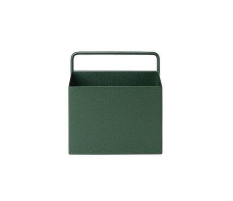 Ferm Living Plant box Wall Square dark green metal 15.6x14.6x15.6cm