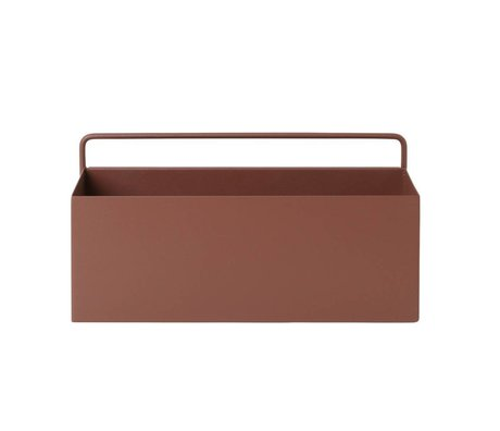 Ferm Living Plant box Wall Rectangle red brown metal 30,6x14,6x15,6cm