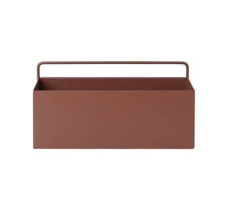 Ferm Living Plantenbox mur rectangulaire 30,6x14,6x15,6cm métal rouge brun