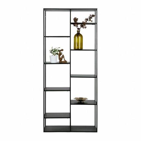 WOOOD Cabinet juni schwarzes metall 195x85x35cm