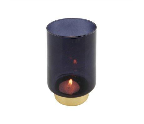 WOOOD Lola candle holder glass blue l