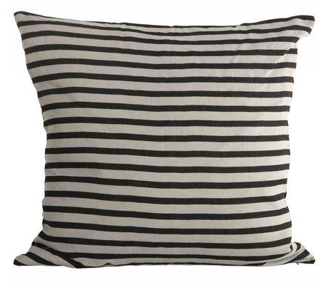 Housedoctor Kissenbezug Stripes aus Leinen, schwarz/grau, 50x50cm