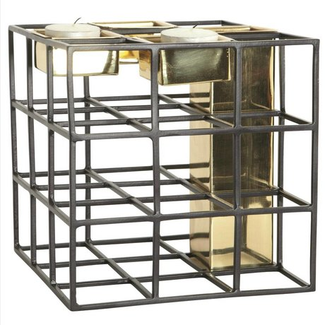 Housedoctor Bougies - Vases titulaire SQ métallique, noir / or, 17,5x17,5cm