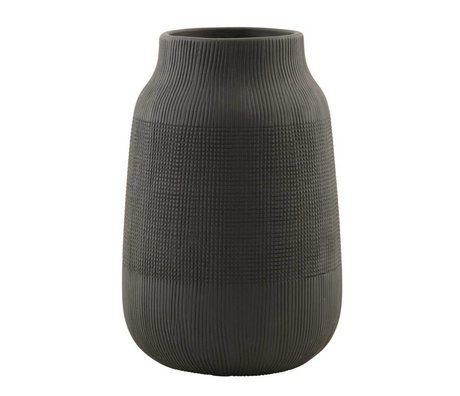 Housedoctor Groove earthenware vase, black, Ø15x22cm