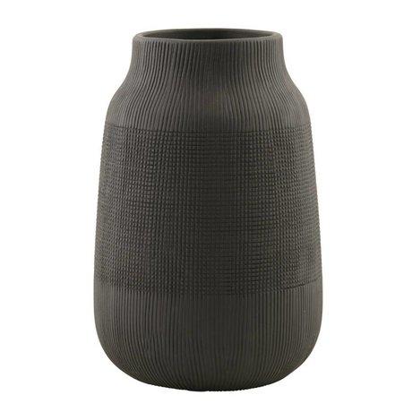 Housedoctor Groove terre cuite vase, noir, Ø15x22cm