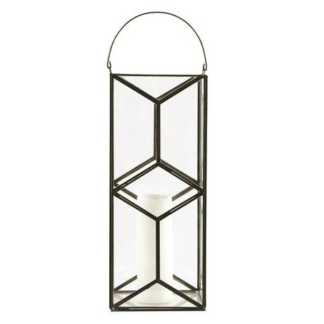 Housedoctor Laterne/Kerzenhalter Mozaik, dunkel antik, 16,5x16,5x40cm
