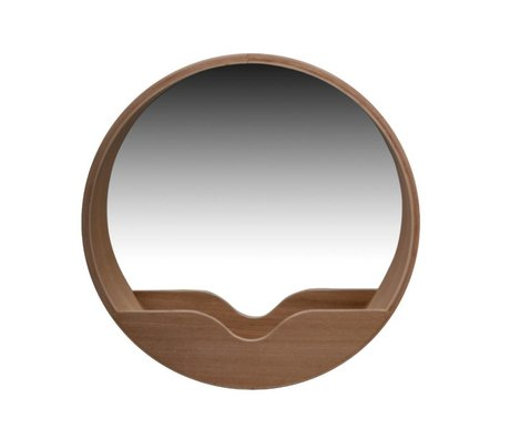 Zuiver Round Wall Mirror in oak, Ø40x8cm