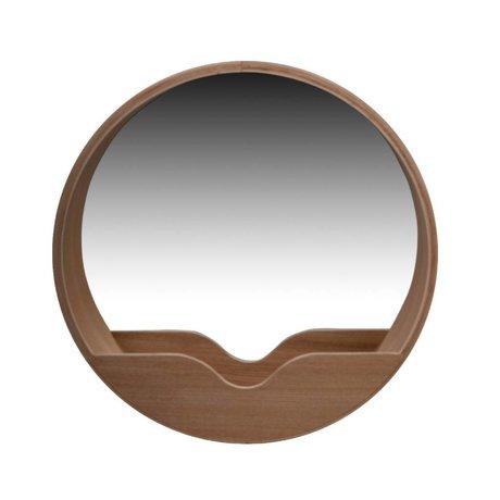 Zuiver Round Wall Mirror en chêne, Ø40x8cm