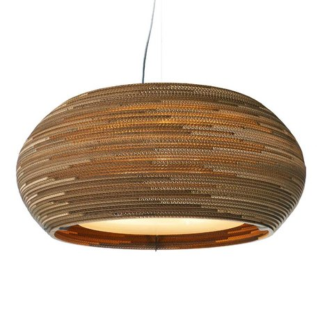 Graypants Hanging Lamp Ohio 24 cardboard, brown, Ø61x24cm