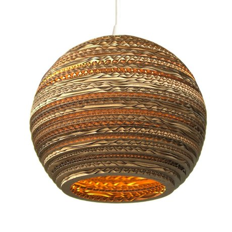 Graypants Lámpara colgante de la luna 10 de cartón, marrón, Ø26x22cm