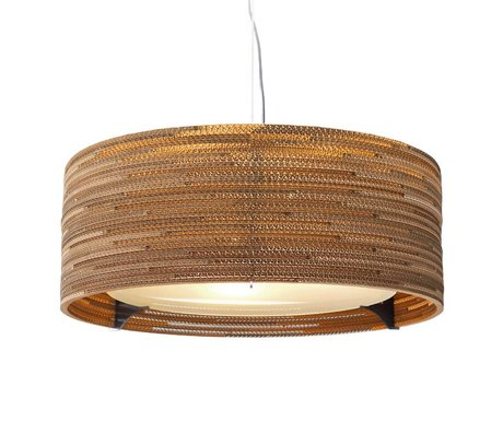 Graypants Hanging lamp Drum 24 cardboard, brown, Ø61x24cm