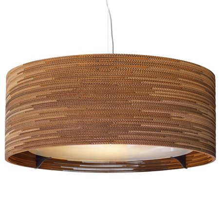 Graypants Hanging lamp Drum 36 cardboard, brown, Ø92x35cm