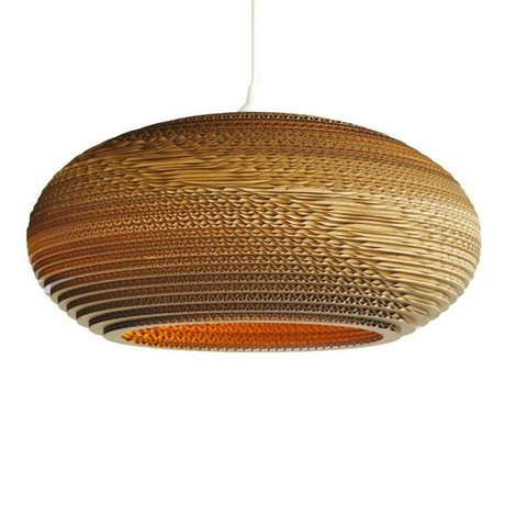Graypants Hanging lamp Disc 20 cardboard, brown, Ø50x23cm