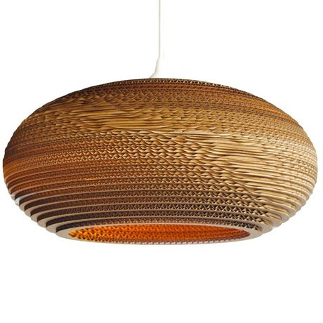 Graypants Hanging lamp Disc 24 cardboard, brown, Ø61x26cm