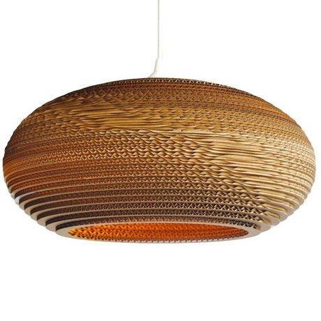 Graypants Lámpara colgante de disco 24 de cartón, marrón, Ø61x26cm