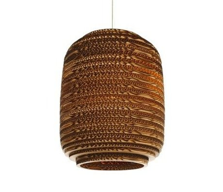 Graypants Hanging lamp Ausi 8 of cardboard, brown, Ø19x24cm